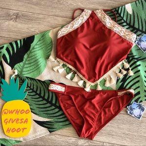 YMI Tassel Trim Longline Bikini